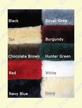 Sheepskin Seat Colors: Black, tan, chocolate brown, red, navy blue, silver grey, burgundy, hunter green, white or ivory.