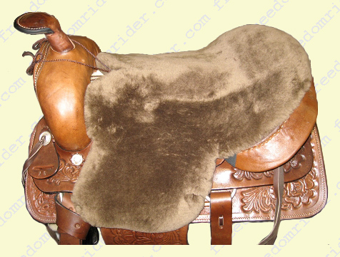 Western Deluxe Sheepskin Seat Saver seen from the top