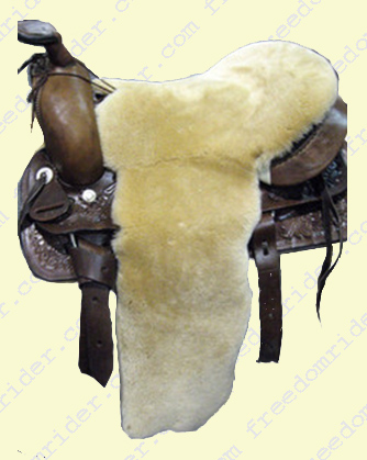Western Full Coverage Sheepskin Seat Saver seen from the top.